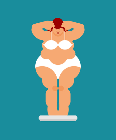 Fat woman and scales. Weight loss and diet Illustration