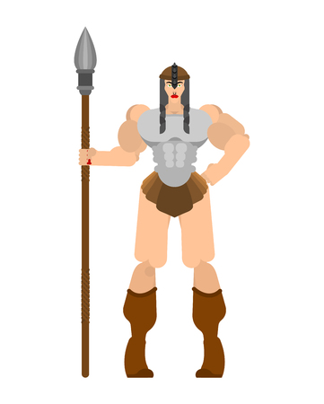 Barbarian woman. Lady viking. Strong female Warrior with weapons Big blade. berserk. Strong Powerful Medieval Mercenary Soldier. Vector illustration Illustration