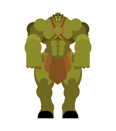 Ogre warrior with weapon. Green goblin Strong. berserk Troll