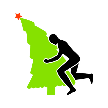 Fuck Christmas tree . christmas. Man on fir-tree. Hate Xmas