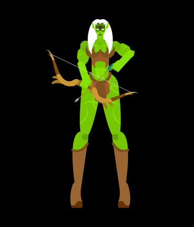 Elf Female warrior with weapon. Green magic woman Strong. berserk lady Goblin Illustration
