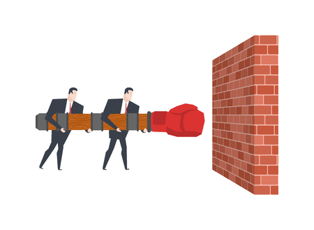 Business team and Battering ram and wall. Wall Mounted machine. Businessman and siege weapon