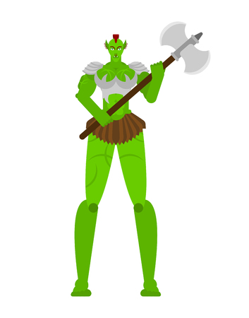 Ogre Female warrior with weapon. Green goblin woman Strong. berserk lady Troll