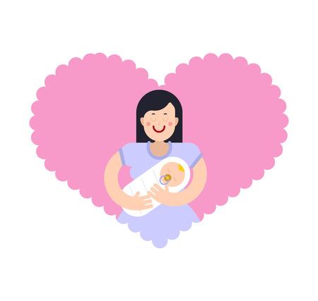 Motherhood. Mom and baby. Mother and child Vektorové ilustrace
