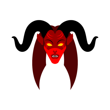 Female demon with horns face. Woman devil. Succubus red. lady satan. Vector illustration  Vettoriali