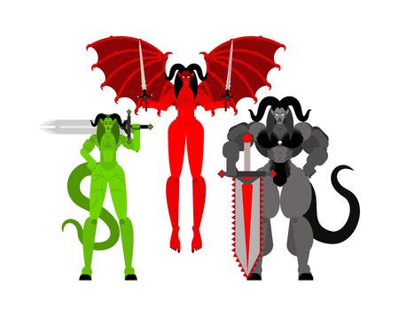 Demon woman Warrior set. Three Succubus berserk. Strong Female devil.  lady satan. Hell warriors. Vector illustration