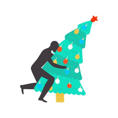 Fuck Christmas tree . fucking christmas. Man sex on fir-tree. Hate Xmas