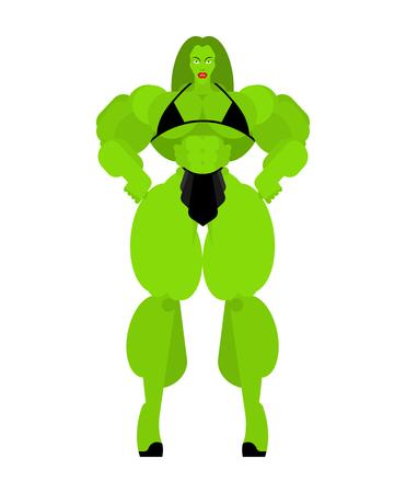 Superwoman Superhero Strong green woman. Bodybuilding Female. Beautiful sporty body Woman. Athletic Muscular Model. Fitness Illustration