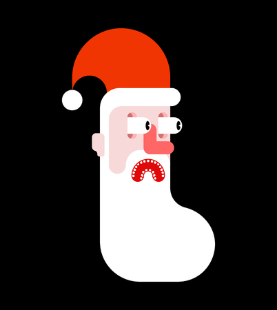 Santa scare fear face. Christmas and New Year illustration