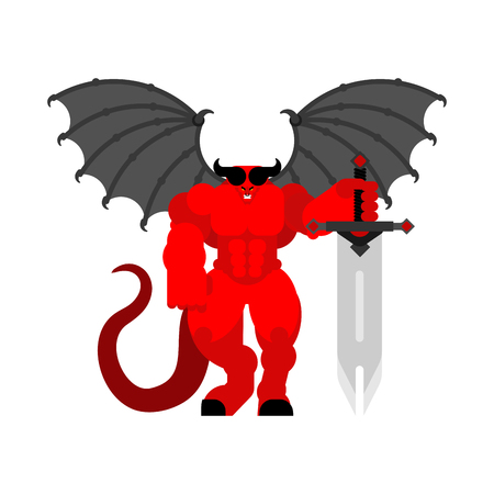 Demon Warrior with sword. Strong devil. berserk red satan. Hell warriors. Vector illustration