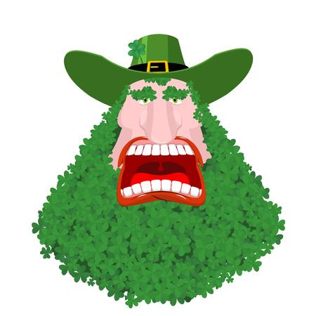 Leprechaun beard in Shamrock face. Clover mustache. Ireland holiday. St. Patrick's Day. Traditional Irish holiday. Green leaves trefoil
