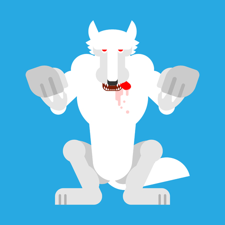 Angry White Wolf attack isolated. Snow Werewolf Predator beast Standing on hind legs. wildlife vector illustration