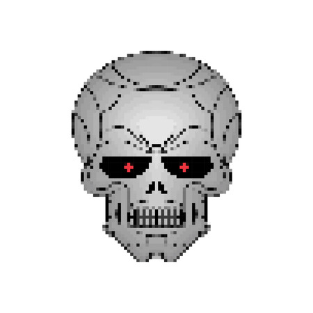 Iron skull pixel art. Metal head skeleton 8 bit