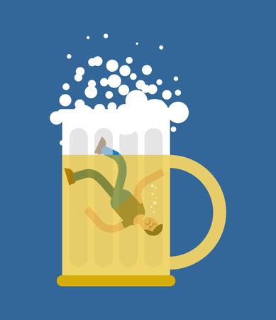 Man in beer mug. Beers lovers. Dropped into mug