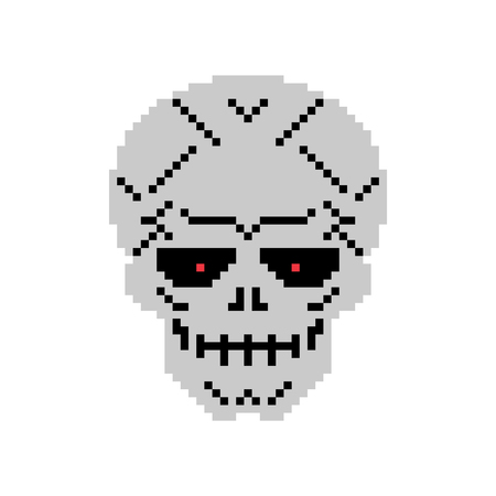 Metal skull pixel art. Iron head skeleton 8 bit
