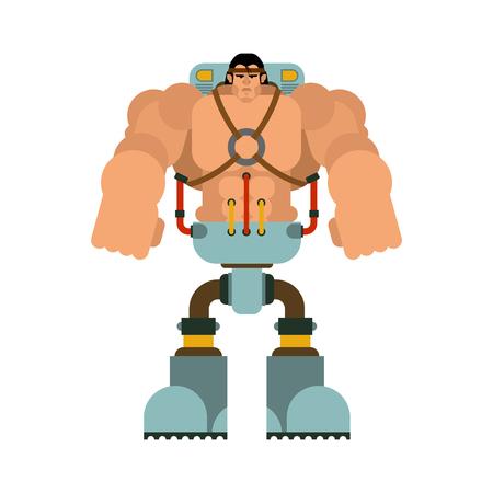 Cyborg man with iron cybernetic Legs robot. Humanoid mechanism. mechanical technology robotic skeleton Illustration