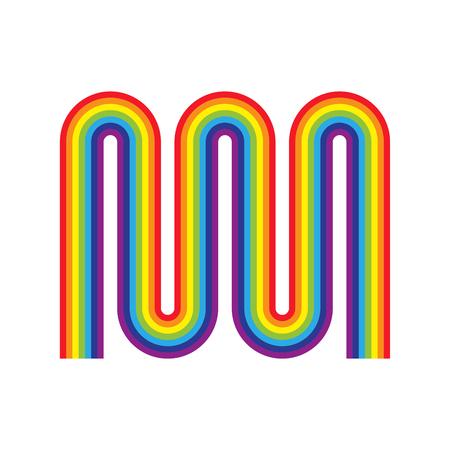 Rainbow twisted zigzag. Rainbow heating radiator isolated. Multicolored metal radiator heating systems Illustration