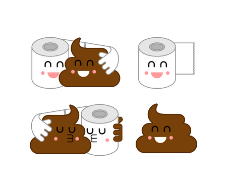 Shit and paper set. Turd and toilet paper. Toilet Romatic