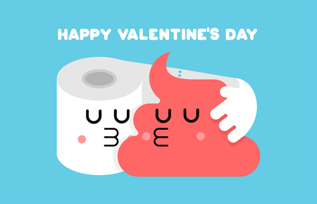 Shit and toilet paper love. Lovers kiss. Valentine's Day. 14 February. Toilet Romatic Valentine