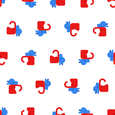 Elephant and Donkey pattern seamless. Democrat and Republican background. Political patriotic texture Çizim