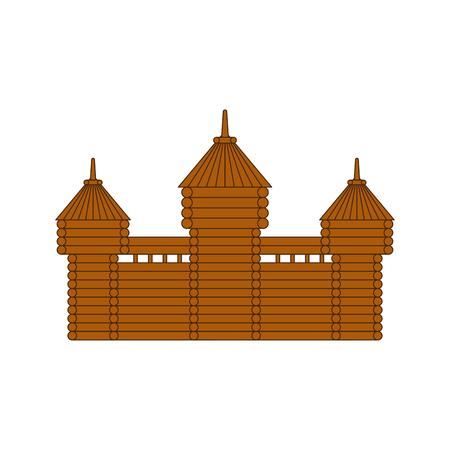 Forteresse en bois. Tour du château à colombages. Ancien avant-poste Vecteurs