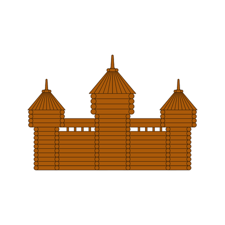 Wooden fortress. timbered castle Tower. Old outpost  イラスト・ベクター素材
