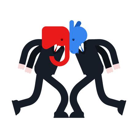 Elephant and Donkey versus. Democrat and Republican battle. Political patriotic vs. Red and blue fight Ilustración de vector
