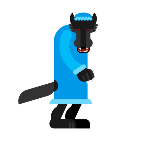 Wolf in grandma costume. Little red riding hood beast. granny wolf Illustration