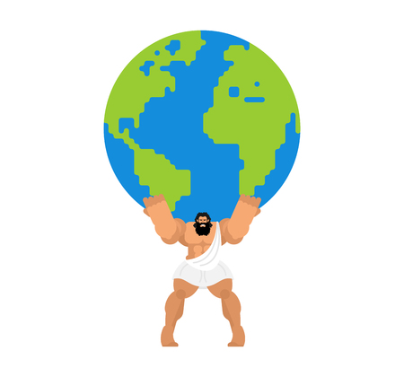 Atlas keeps earth. Atlant holds world on his shoulders