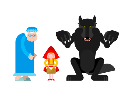 Little Red Riding Hood set. Grandmother and granddaughter. Wolf