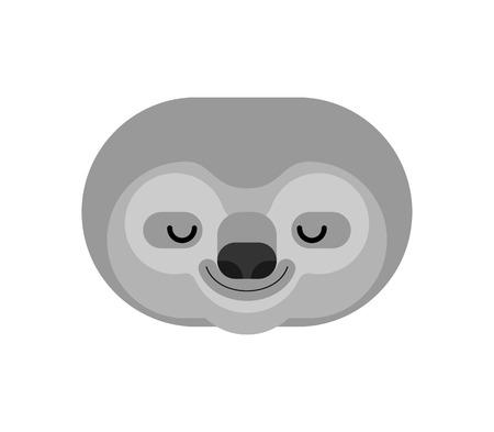 Sloth face isolated. lazybones animal Cartoon. Vector