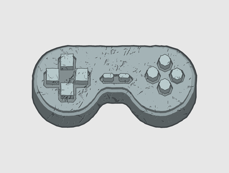 Stone joystick Prehistoric. Ancient gamepad. Old video game. Videogame manipulator of granite 向量圖像