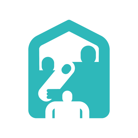 Family home icon symbol. household residence. Dad, mom and baby at house sign. Stock Illustratie