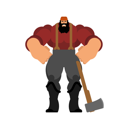 lumberman isolated. Woodcutter with an ax. Strong lumberjack Vectores