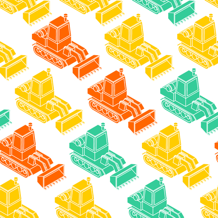 Bulldozer pattern seamless. Grader background. Agrimotor ornament. Tractor vector texture. Childrens Fabric   Ilustração