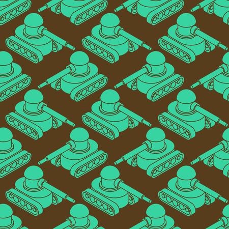 Tank Military pattern seamless. War machine background. Army ornament. Martial vector texture. Childrens Fabric Ilustração