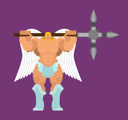 Angel Strong. Powerful archangel. Power of god. Vector