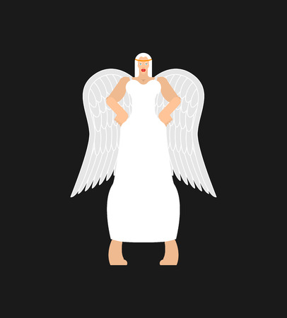 Beautiful angel woman. fine female archangel in white clothes