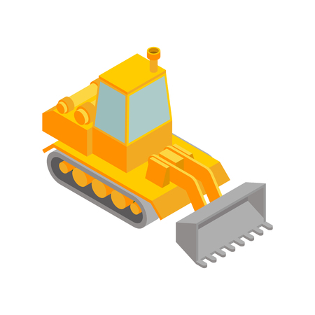 Bulldozer isometric style isolated. Agrimotor 3d model. Tractor vector