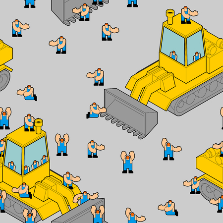 Bulldozer and workers pattern seamless. Road working background.