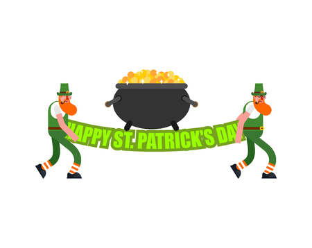 Happy St. Patricks Day Lettering and Leprechaun. Irish holiday. Dwarf in green hat
