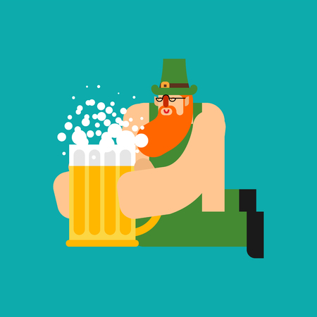 Leprechaun and Beer mug ale. St. Patricks Day character. Irish holiday. Dwarf in green hat Ilustração