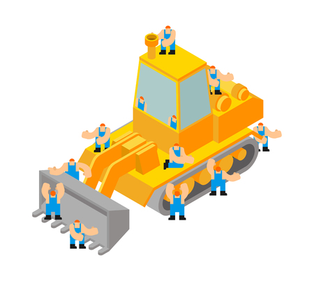 Bulldozer and workers. Tractor and Road labor