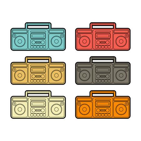 Boombox set. Retro recorder Cassette tape. Vector