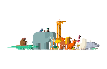 Set family animals. Pairs of beasts. Noah animal. Vector