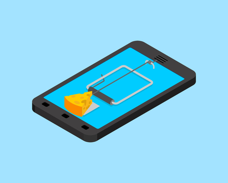 Internet deception concept. Online Mousetrap and cheese isolated. Mouse trap in Smartphone. Tablet gadget Rodent snare. Vector illustration