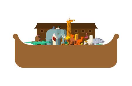 Arche Noah und Tiere. Paare von Tieren. Rettung vor Hochwasser. Großes altes Schiff aus der Bibel. Biblisches Boot