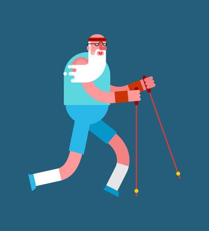Nordic Walking des alten Mannes isoliert. Großvater geht mit Skistöcken. Ausbildung für Rentner. Ältere Läufer