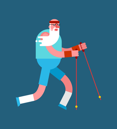 Old man Nordic walking isolated. Grandfather go with ski poles. Training for pensioners. Elderly runner
