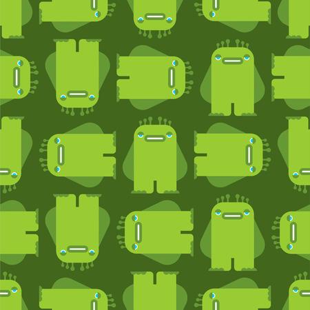 Patrón de monstruo de dibujos animados sin fisuras. Fondo de vector de bestia verde. Textura de tela para niños